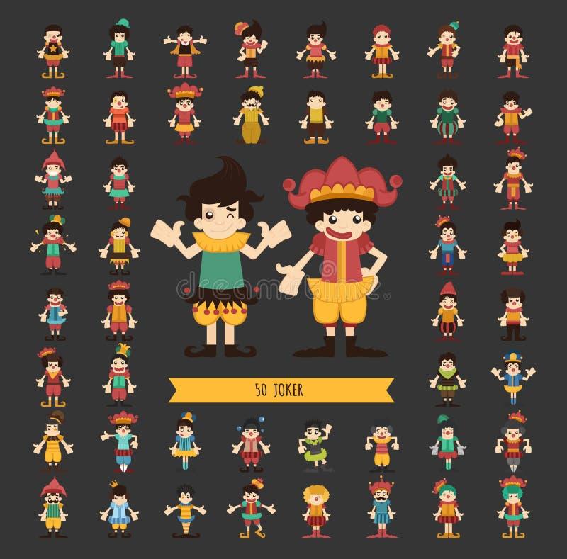 Grupo de poses dos caráteres do palhaço ilustração stock