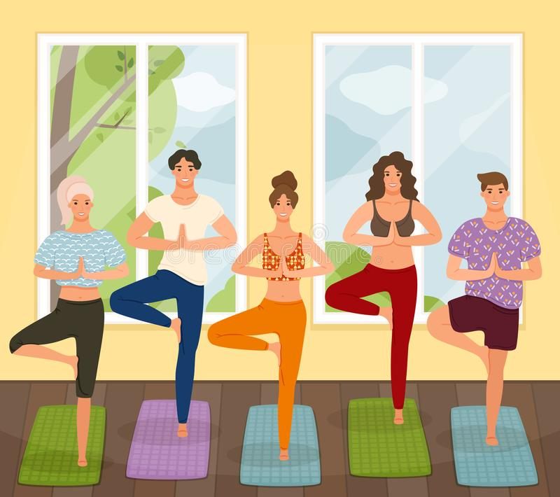 Grupo de posição praticando da lição da ioga dos jovens no exercício de Vrksasana, pose da árvore ilustração do vetor