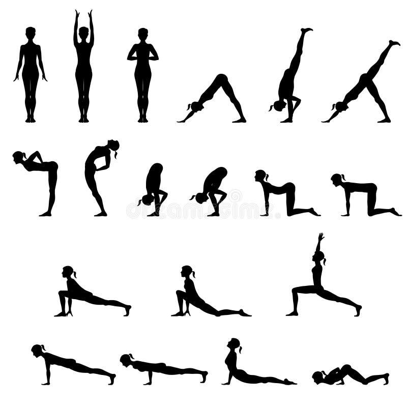 Grupo de 19 posições da ioga ilustração do vetor