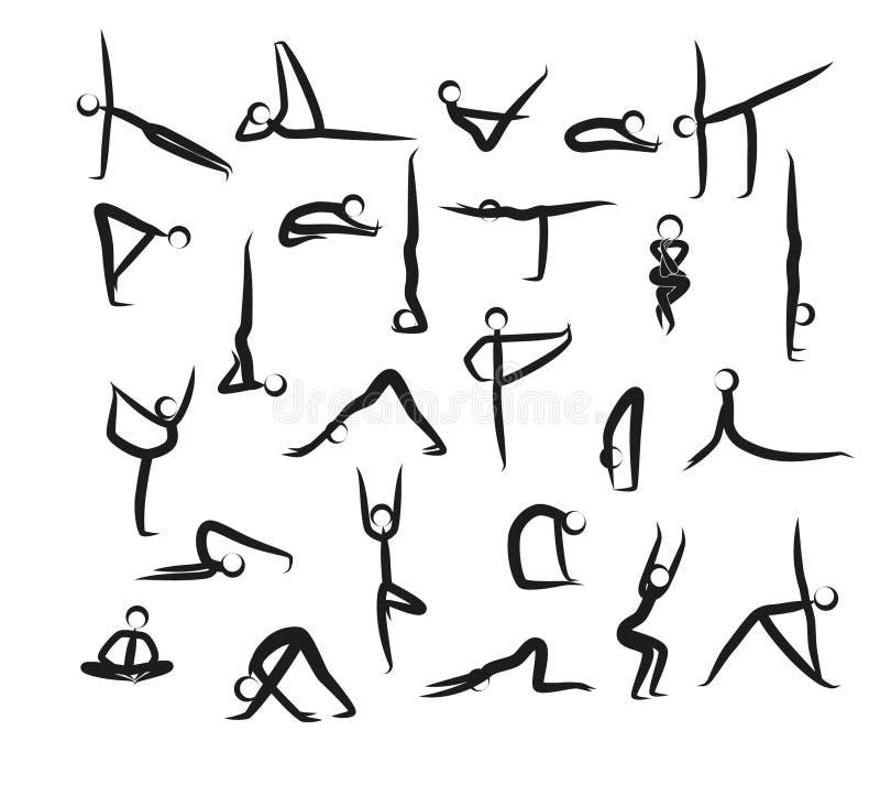 Grupo de posições da ioga ilustração royalty free