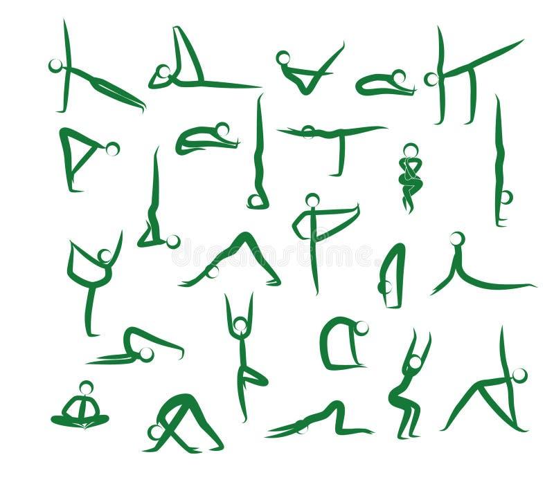 Grupo de posições da ioga Verde ilustração do vetor