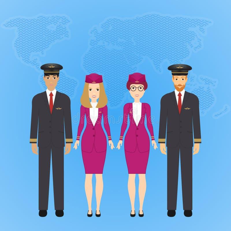 Grupo de povos bonitos lisos dos desenhos animados de caráteres dos aviões no uniforme do ar Ajuste das profissões da aviação dos ilustração royalty free