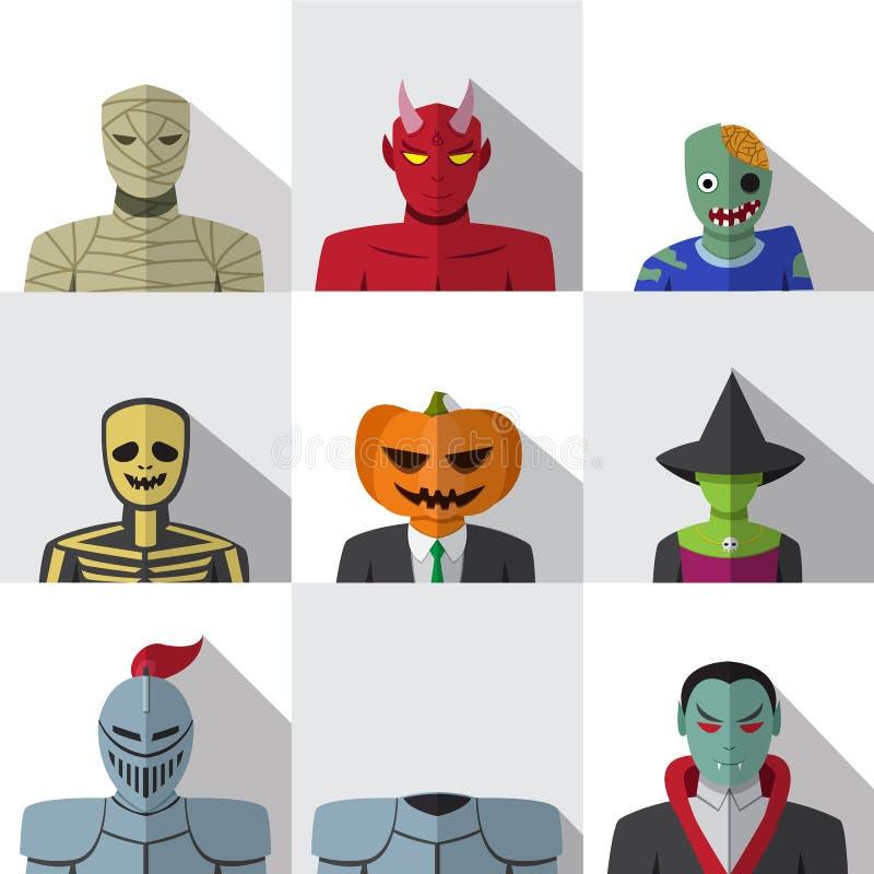 Grupo de povos com o traje do Dia das Bruxas em ícones lisos ilustração stock