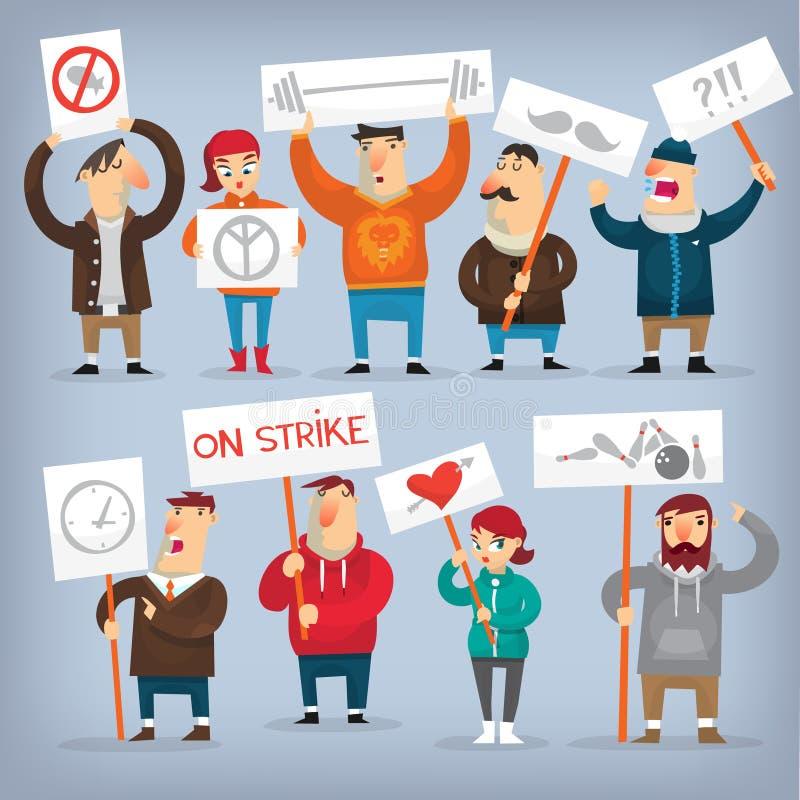 Grupo de povos de protesto ilustração royalty free