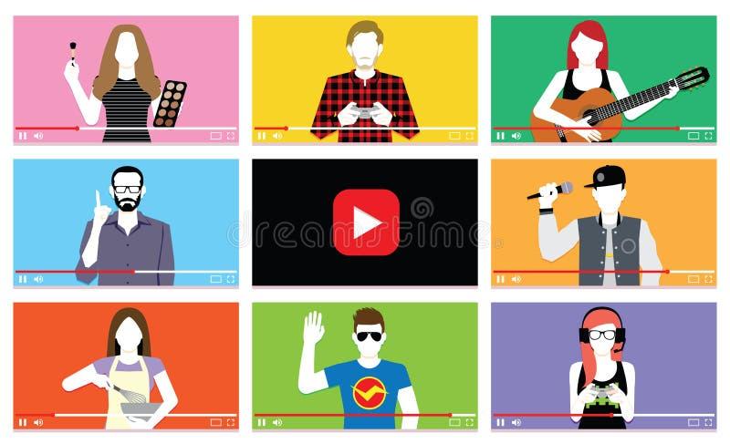 Grupo de povos diferentes em vídeos do Internet ilustração royalty free