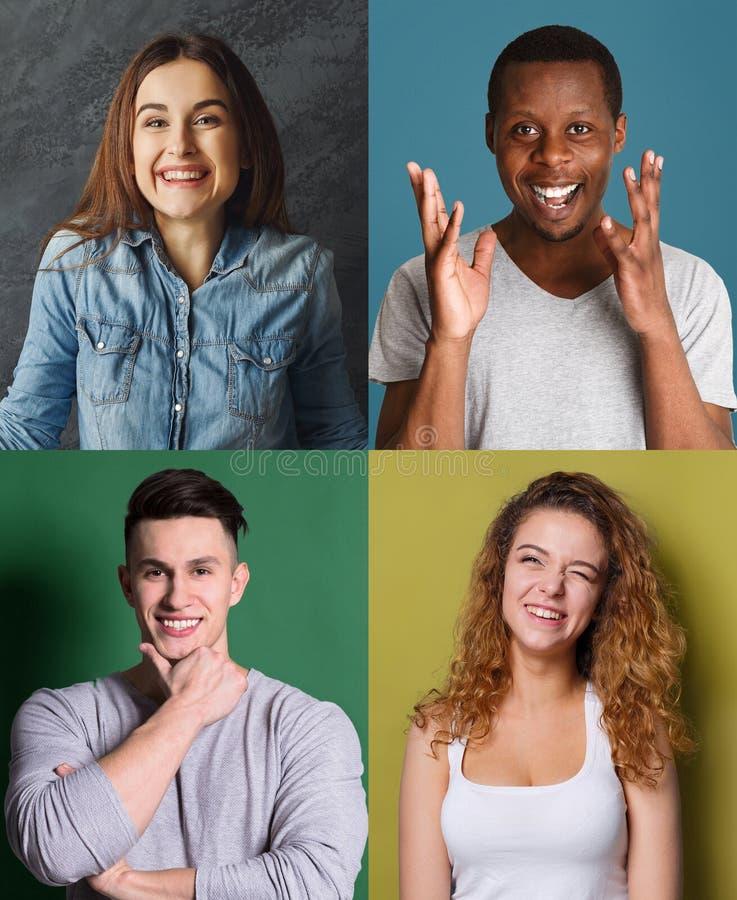 Grupo de povos diversos felizes em fundos do estúdio fotos de stock royalty free