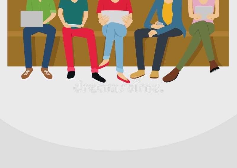 Grupo de povos diversos que usam dispositivos de Digitas Tecnologia dos amigos junto ilustração do vetor