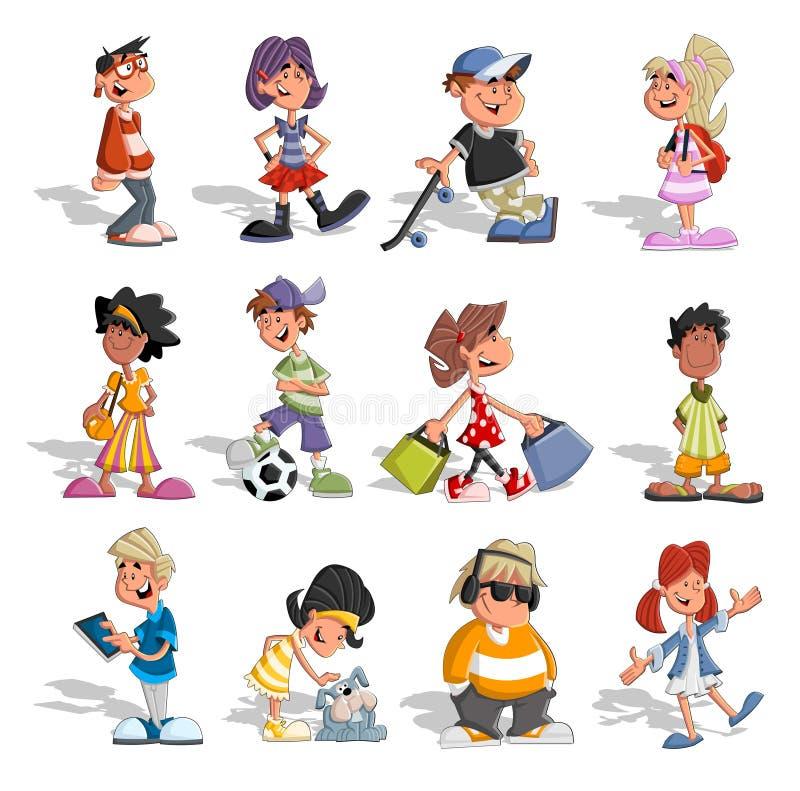 Grupo de povos dos desenhos animados ilustração stock