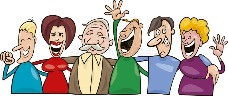 Grupo de povos engraçados ilustração royalty free