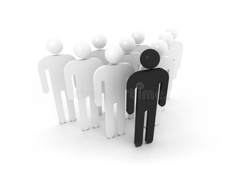 Grupo de povos esquemáticos com líder preto ilustração stock