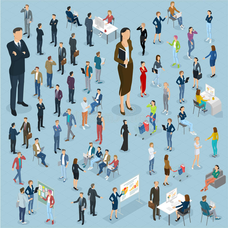 Grupo de povos isométricos do vetor ilustração stock