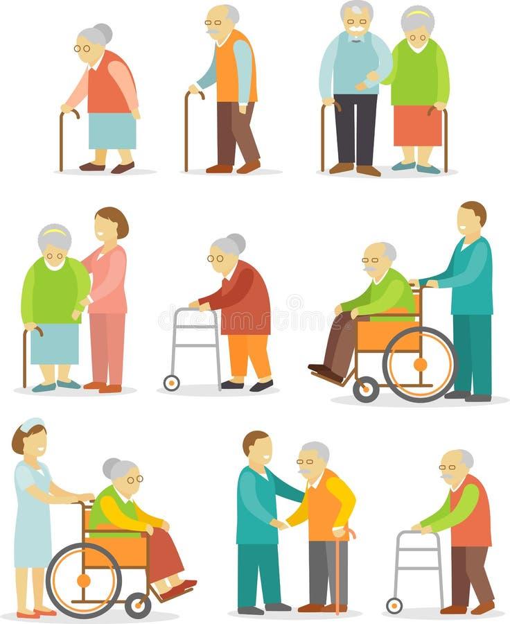 Grupo de povos mais idosos no estilo liso ilustração royalty free