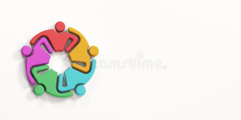Grupo de povos ocupados multi-étnicos HoldingEach outro 3d rendem a ilustração ilustração stock