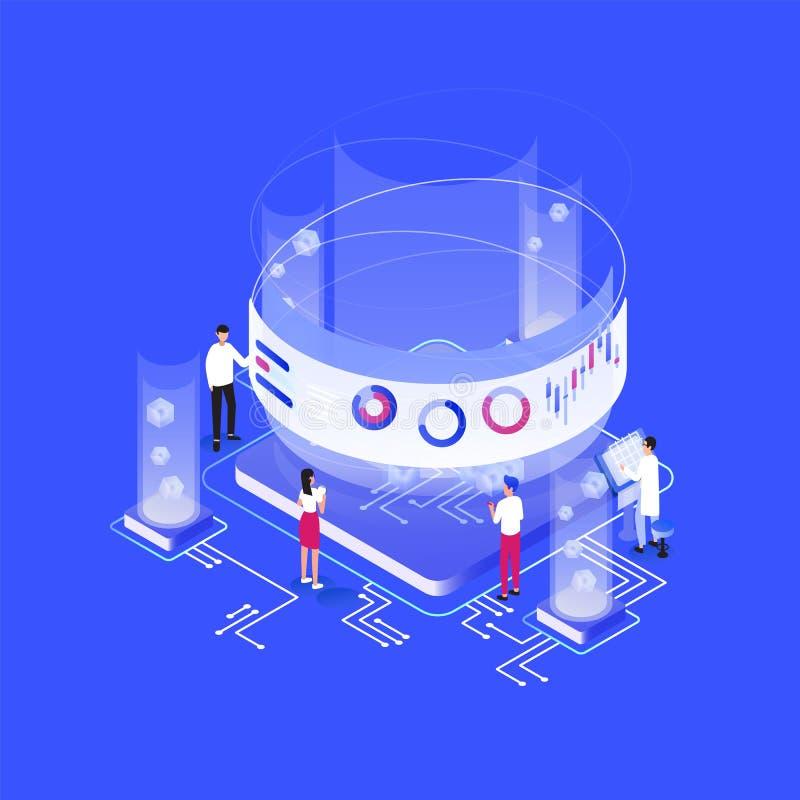 Grupo de povos ou de analistas minúsculos que estão em torno do circuito integral gigante, cartas, diagramas, gráficos na tela vi ilustração stock
