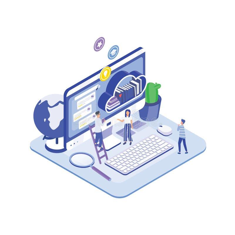 Grupo de povos ou de estudantes minúsculos que estão na frente do monitor do computador e da prateleira gigantes dos livros Virtu ilustração stock