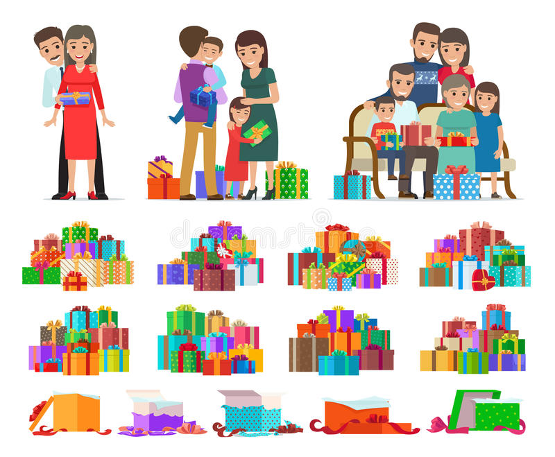 Grupo de povos que dão as caixas e os presentes atuais ilustração stock