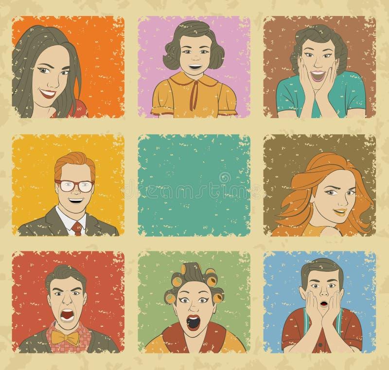 Grupo de povos retros ilustração stock