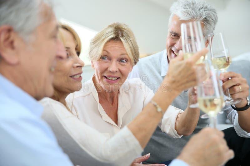 Grupo de povos superiores que comem o aperitivo e que fazem o brinde imagem de stock royalty free