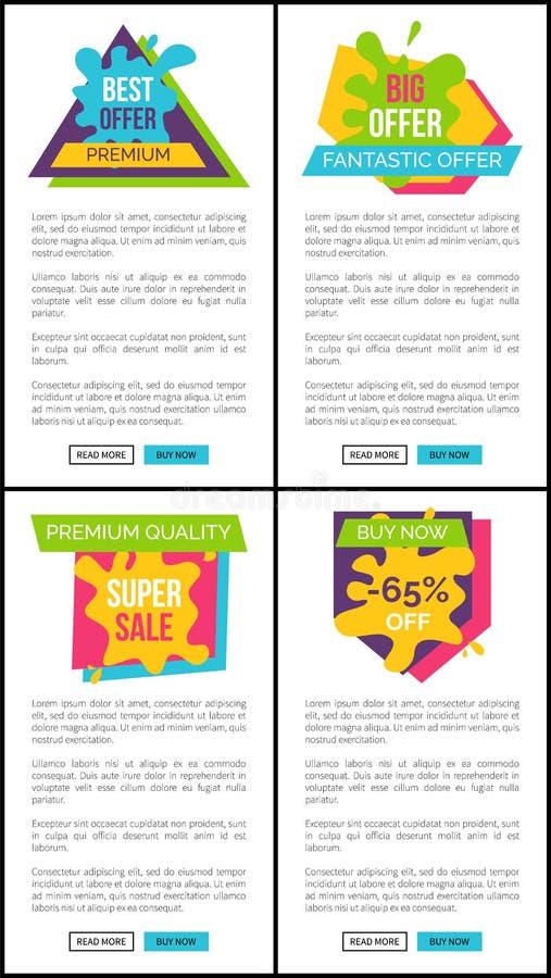 Grupo de preço das etiquetas de oferta fantástica superior melhor ilustração do vetor