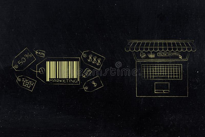Grupo de precios con el naxt del subtítulo del márketing al ordenador portátil con s stock de ilustración