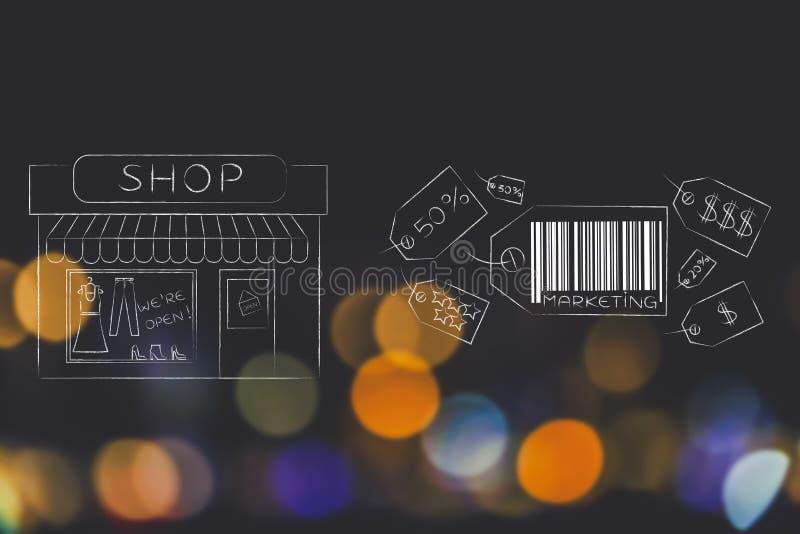 Grupo de precios con el subtítulo del márketing al lado de la ventana de tienda libre illustration