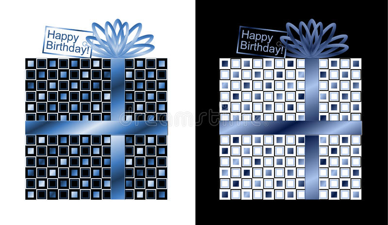 Grupo de presentes azuis e brancos com fita azul e curva ilustração stock
