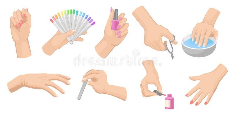 Grupo de procedimento do tratamento de mãos com mãos das mulheres s, produtos do cuidado do prego e ferramentas Elementos lisos d ilustração stock