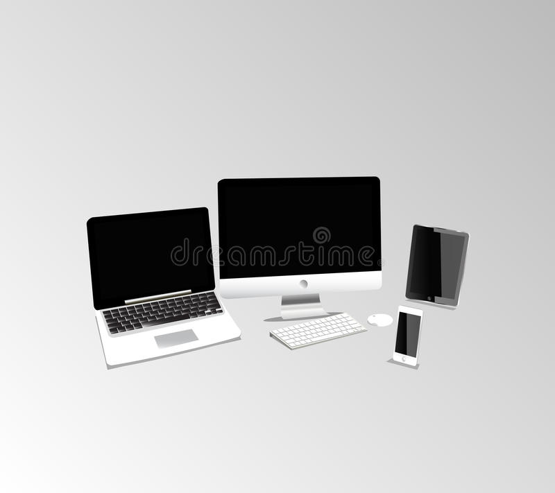 Grupo de produto do Mac fotografia de stock royalty free