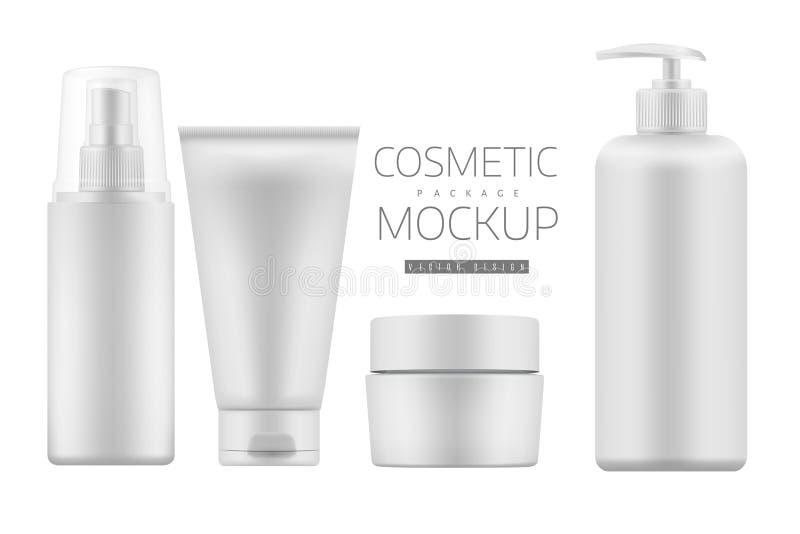 Grupo de produtos cosméticos em um fundo branco ilustração royalty free