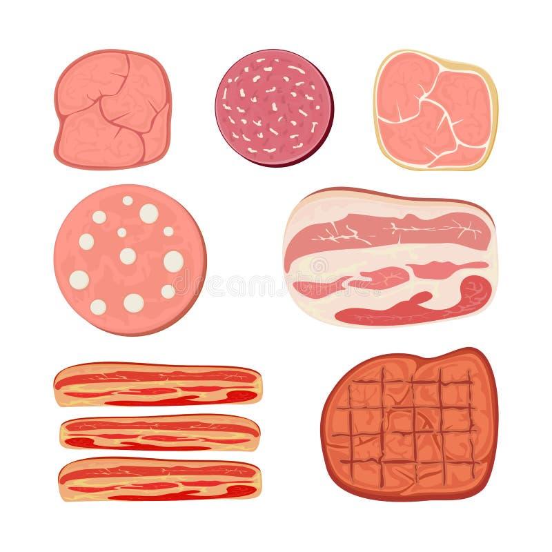 Grupo de produtos de carne ilustração royalty free