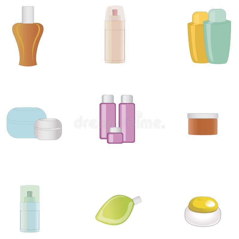 Grupo de produtos do cuidado do corpo isolados no fundo branco Ilustração do vetor ilustração do vetor
