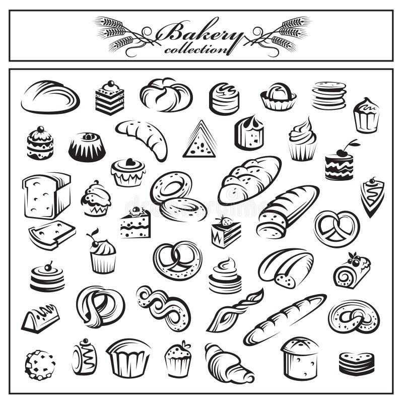 Grupo de produtos do pão e da padaria ilustração royalty free