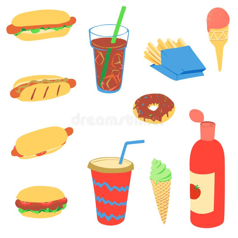 Grupo de produtos de fast food Conceito do alimento da rua ilustração stock