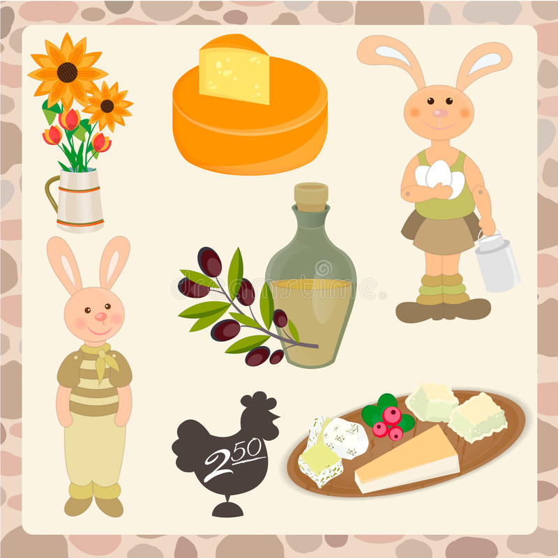 Grupo de produtos orgânicos, coelho com ovos e uma lata do leite, distante ilustração royalty free