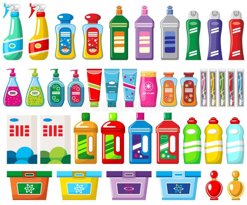 Grupo de produtos químicos e de líquidos de limpeza de agregado familiar ilustração do vetor