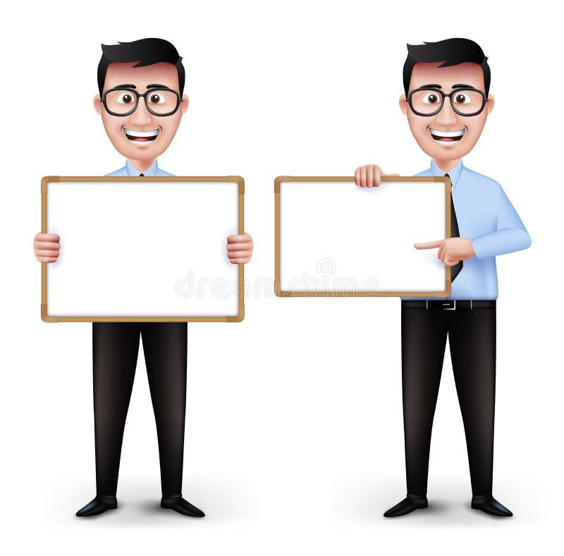 Grupo de professor ou de homem de negócio esperto realístico ilustração do vetor