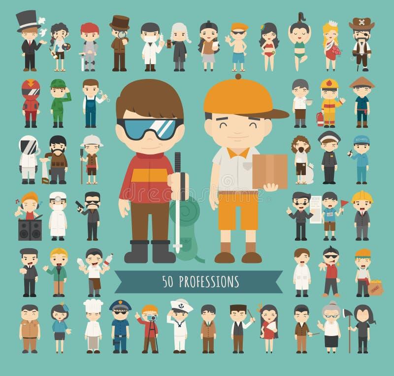 Grupo de 50 profissões ilustração royalty free