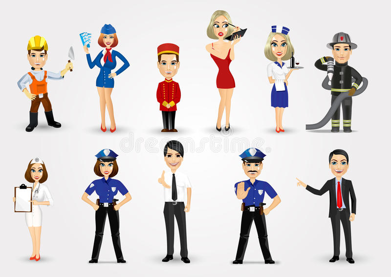 Grupo de 11 profissões ilustração royalty free