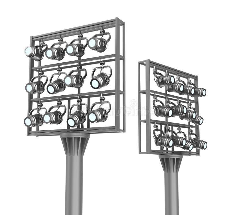 Grupo de projectores em quadros do metal. ilustração do vetor