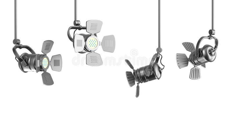 Grupo de projectores no baclground branco ilustração stock