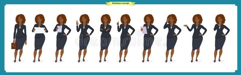 Grupo de projeto de caráter preto da mulher de negócios Parte dianteira, lado, caráter animado da vista traseira Caráter da menin ilustração do vetor