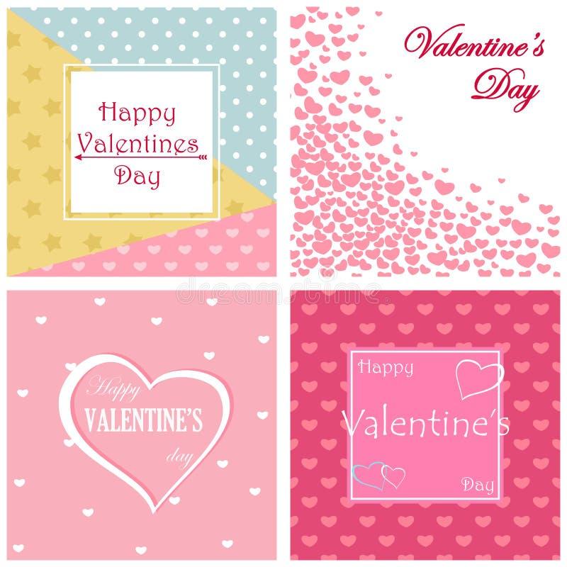 Grupo de projeto de cartão do dia de Valentim ilustração royalty free