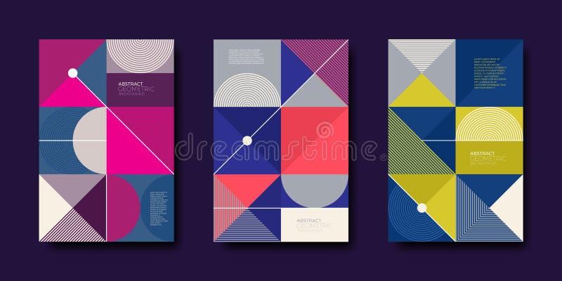 Grupo de projeto da tampa com formas geométricas abstratas simples Molde da ilustração do vetor ilustração stock