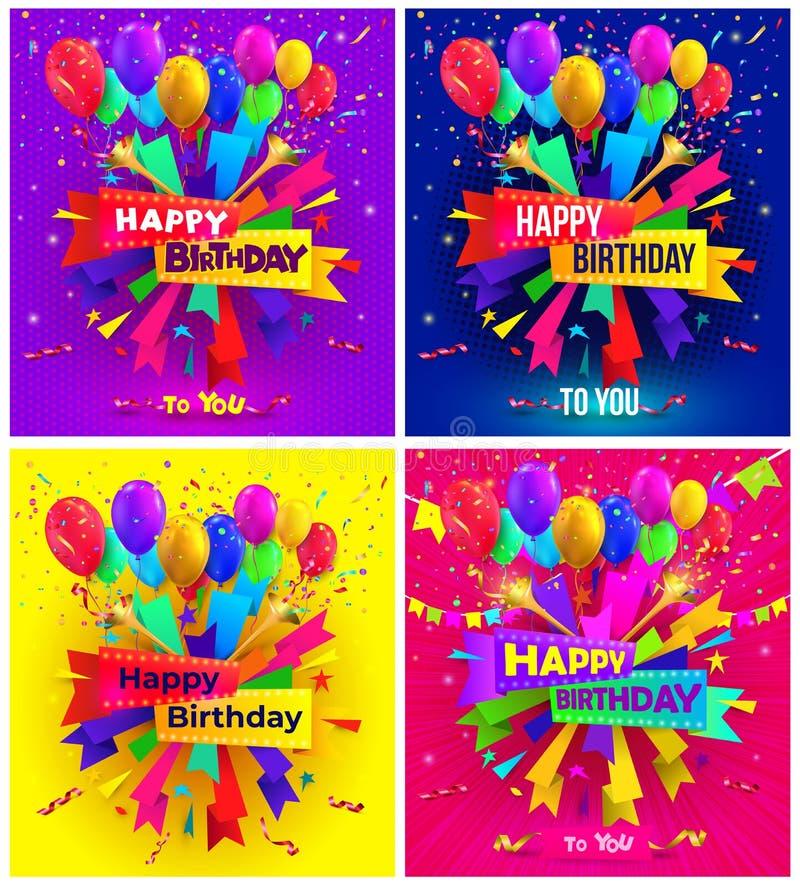 Grupo de projeto da tipografia do feliz aniversario para o cartaz e cartões com balão, os confetes e a caixa de presente de cumpr ilustração stock