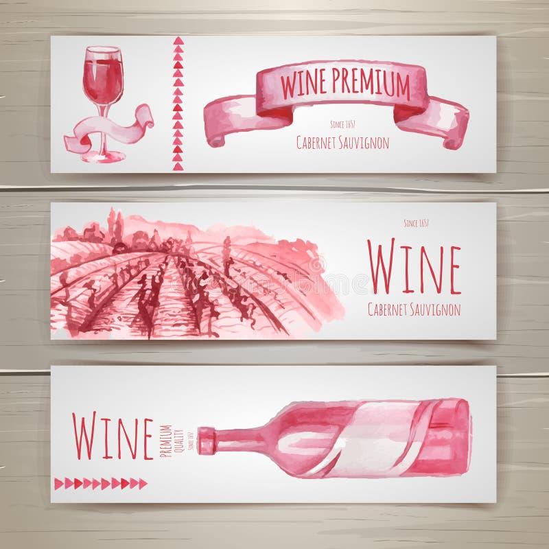 Grupo de projeto das bandeiras e das etiquetas do vinho ilustração stock