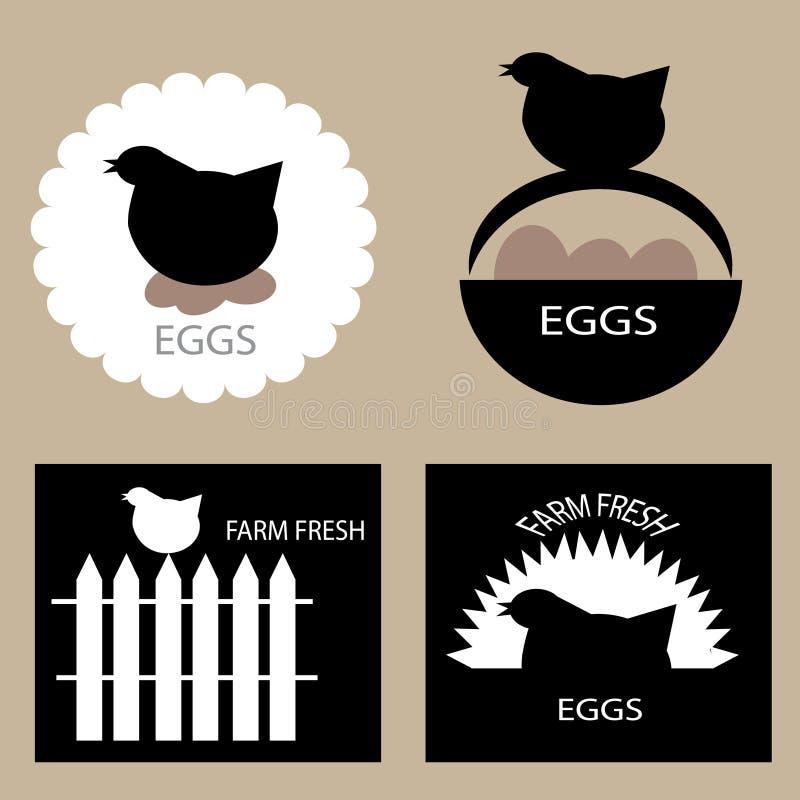 Grupo de projeto das etiquetas do empacotamento de carne da galinha ilustração do vetor