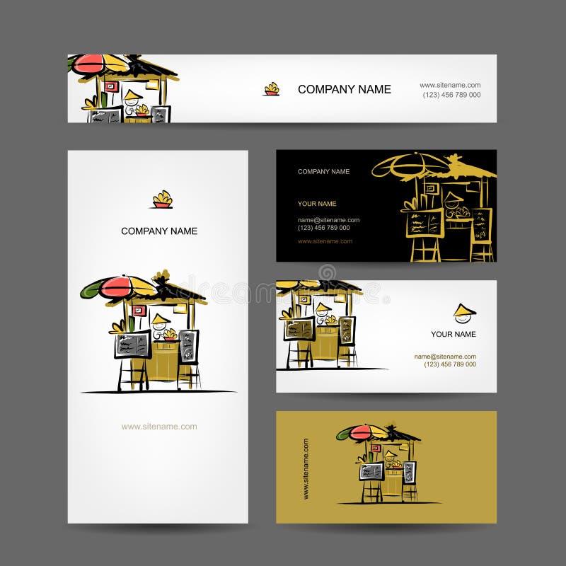 Grupo de projeto de cartões, mercado de rua ilustração do vetor