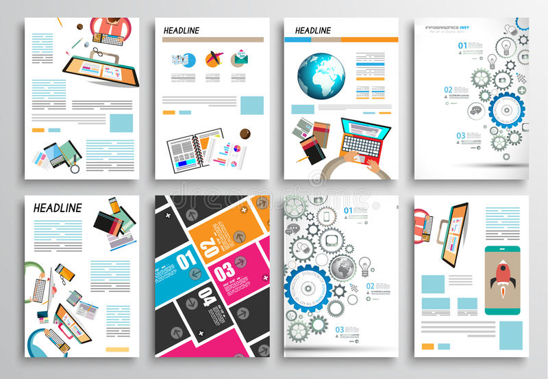 Grupo de projeto do inseto, moldes da Web Projetos do folheto, fundos de Infographics ilustração do vetor