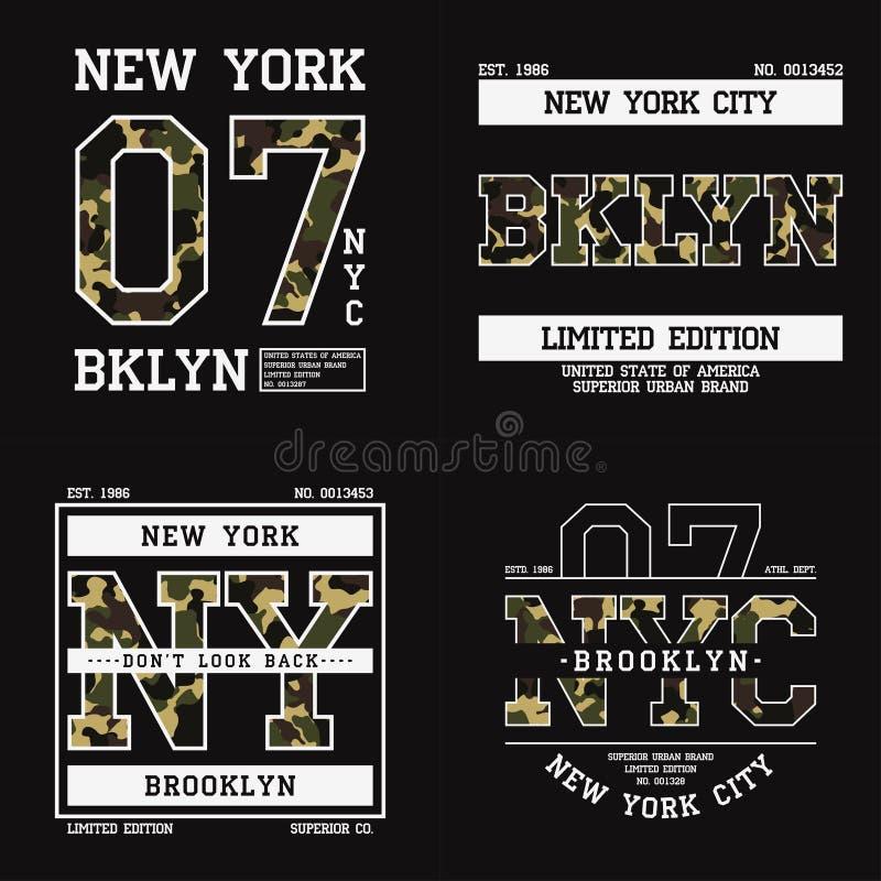 Grupo de projeto gráfico para o t-shirt com textura da camuflagem Cópia do t-shirt de New York com slogan Tipografia do fato de B ilustração stock
