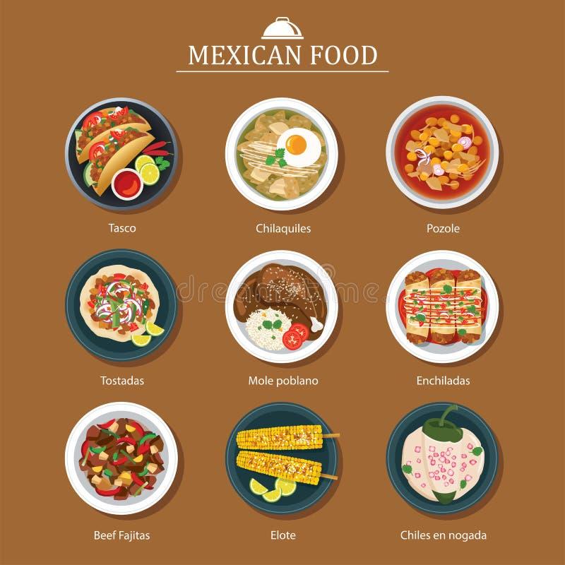 Grupo de projeto liso do alimento mexicano ilustração royalty free